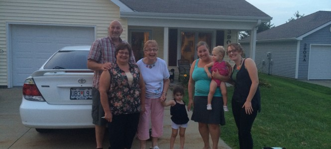 Left to right: Cousins Mark and his wife Kat, Aunt Eleanor, Grace, Becca, Lydia and cousin Megan.