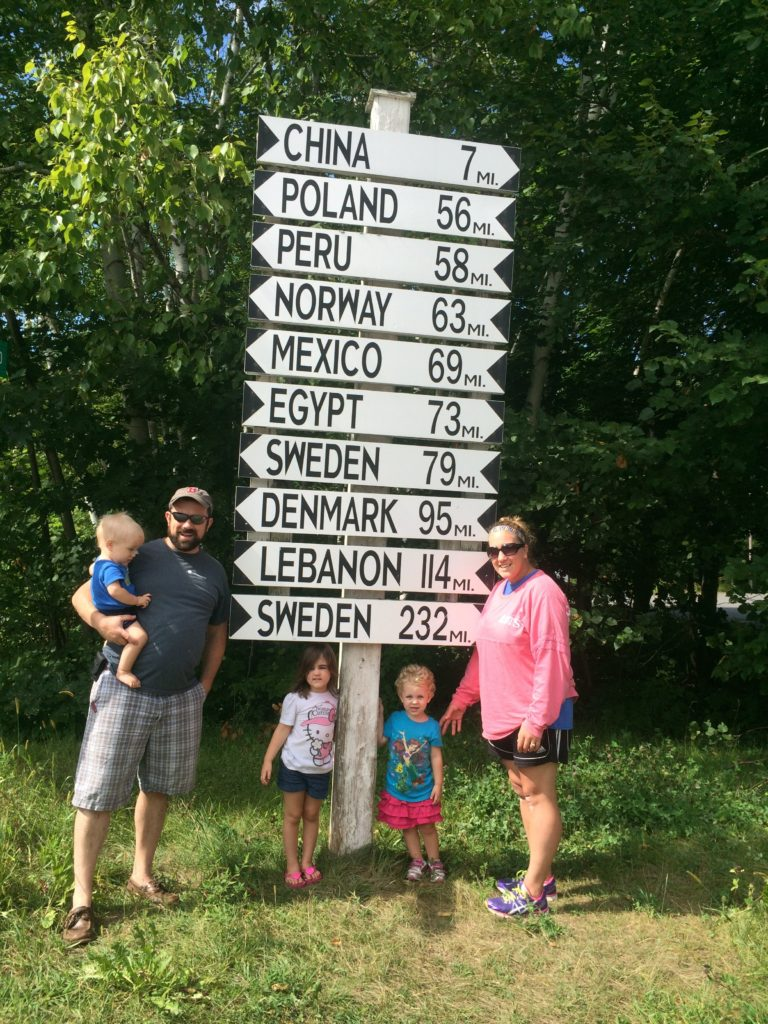 An interesting sign in the middle of China, Maine. Yes, those are the names of real towns in Maine. :)