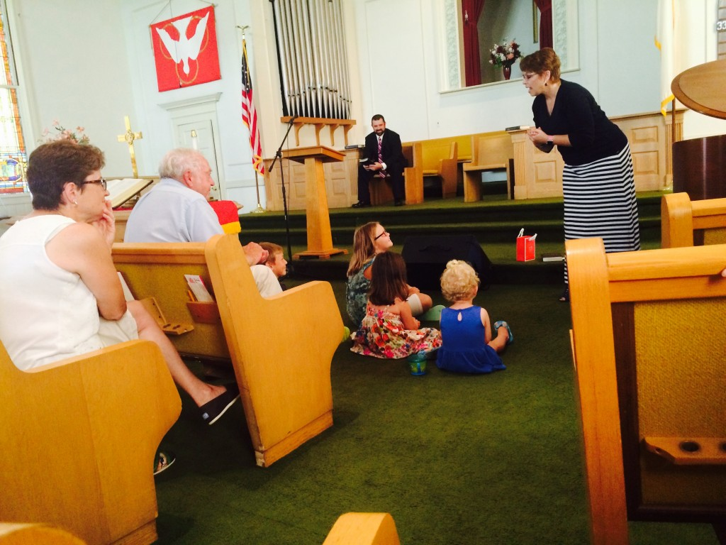 Our good friend Stef gives a childrens story before Luke preaches at FBC in Derry, NH.