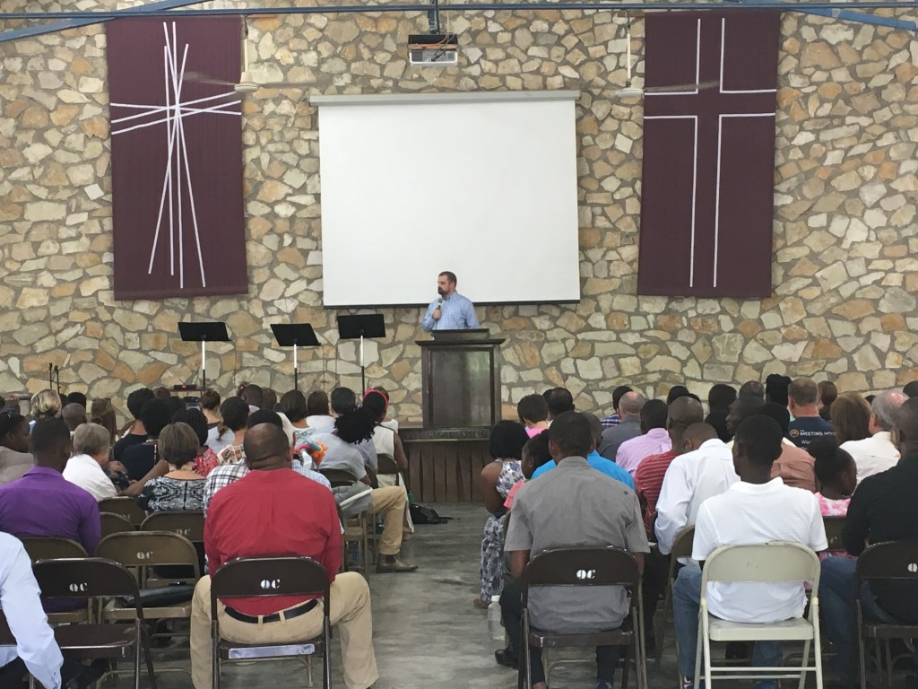 Luke preaching a few weeks ago at Quisqueya Chapel.